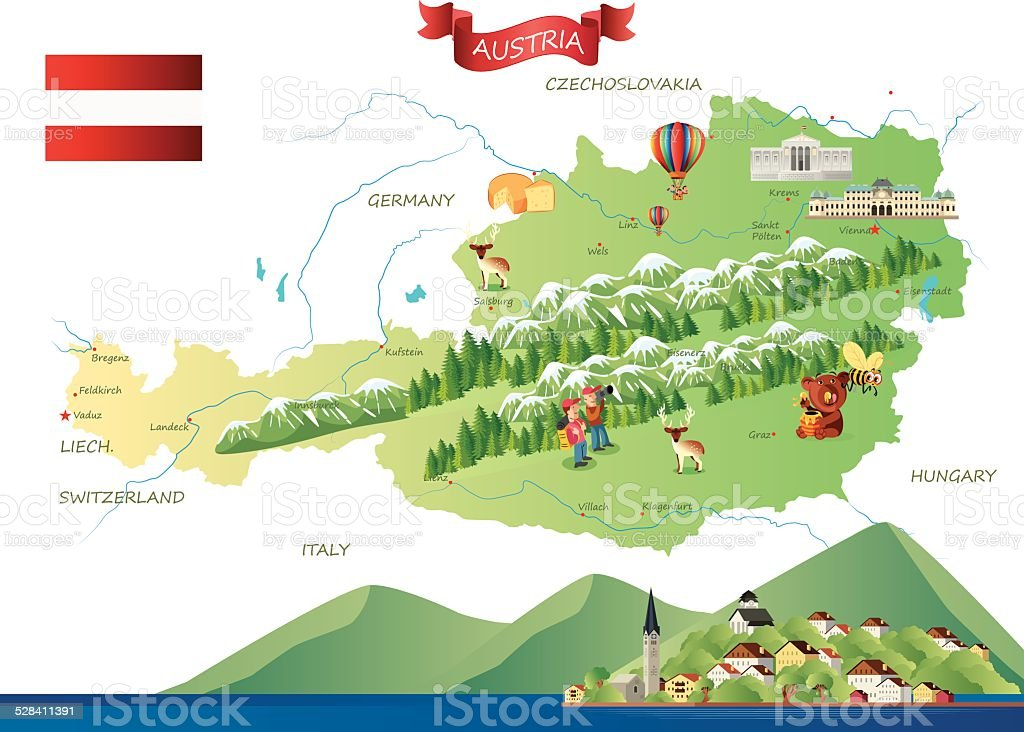Austria Hallstatt vector art illustration