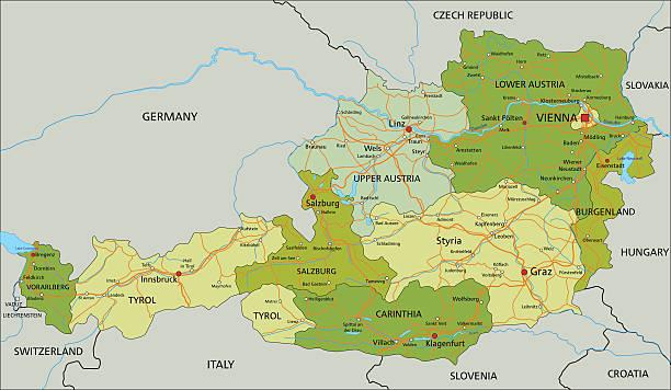 Salzburg Clip Art Vector Images Illustrations IStock - Austria political map