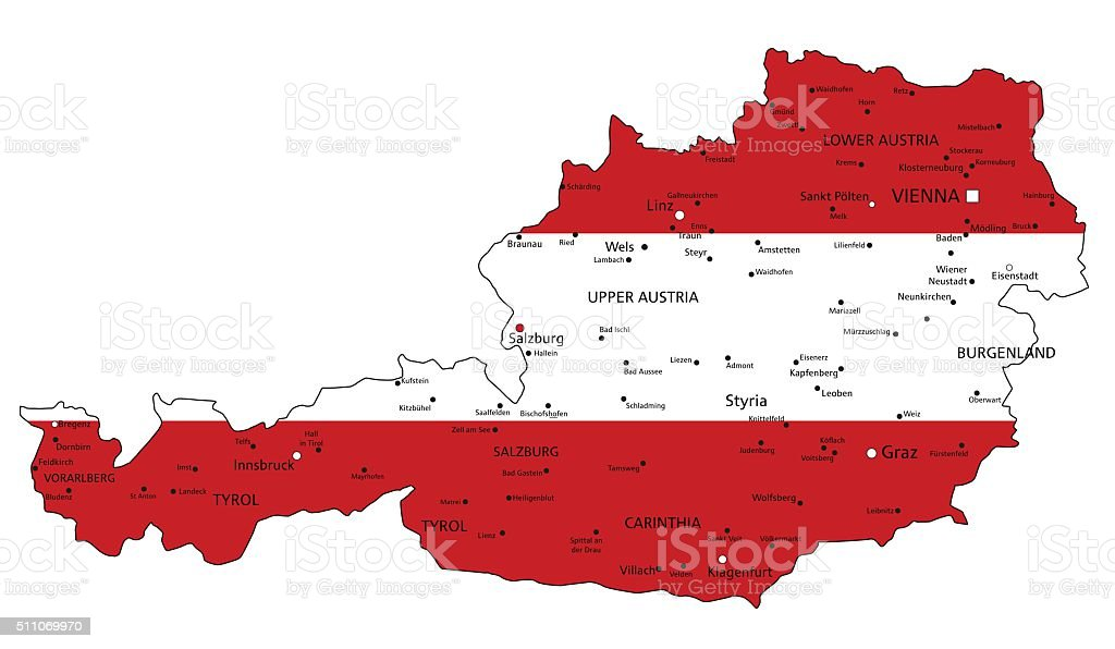 Austria highly detailed political map with national flag. vector art illustration