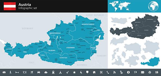 bildbanksillustrationer, clip art samt tecknat material och ikoner med austria - infographic map - illustration - salzburg