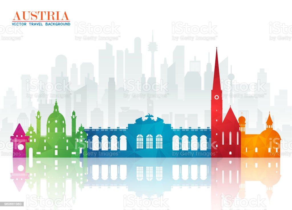 Austria Landmark Global Travel And Journey Paper Background Vector Design Templateused For Your
