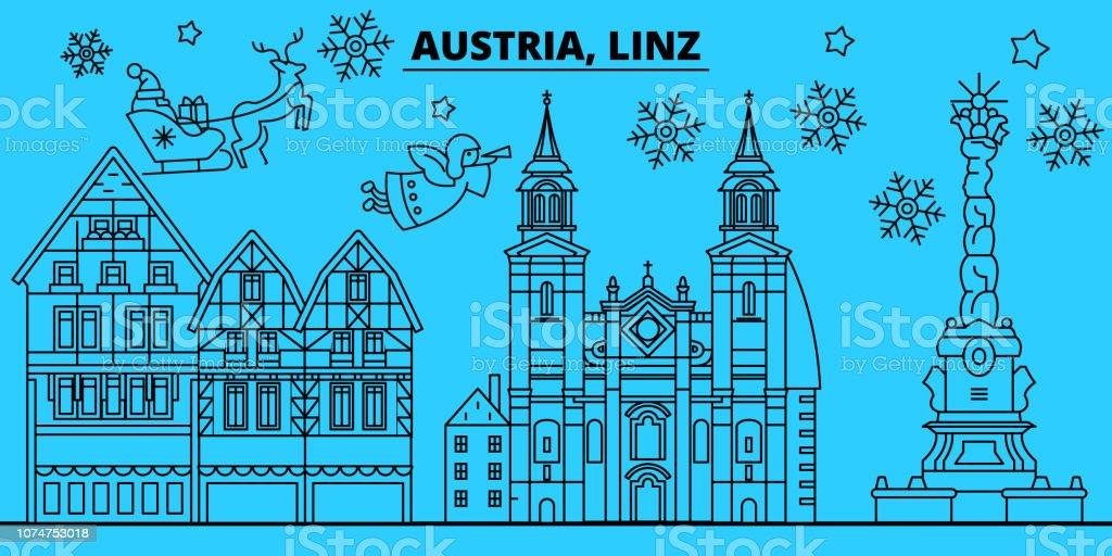 Christmas In Austria Holidays.Austria Linz Winter Holidays Skyline Merry Christmas Happy