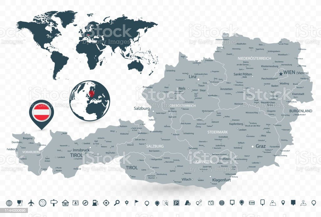 Image of: Austria Map And World Map Isolated On Transparent Background Stock Illustration Download Image Now Istock