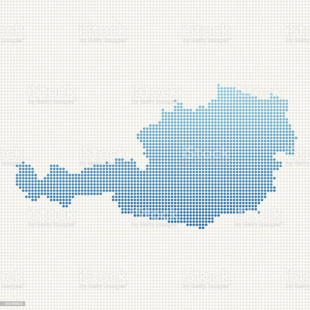 Austria Map Blue Dot Pattern vector art illustration