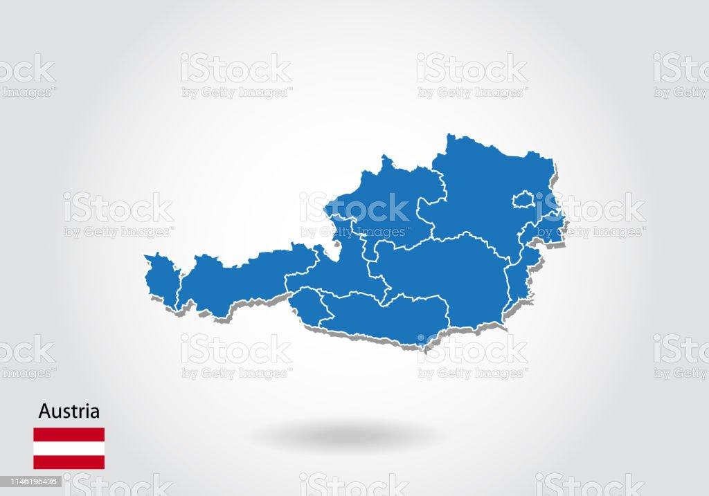 3d Karte Osterreich.Osterreichkartengestaltung Mit 3dstil Blaue Osterreichkarte
