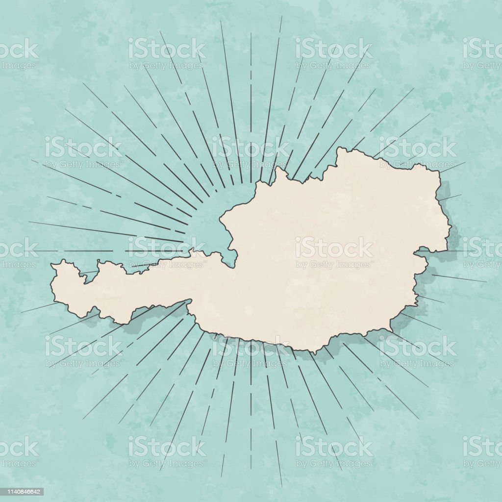 Map of Austria in a trendy vintage style. Beautiful retro...