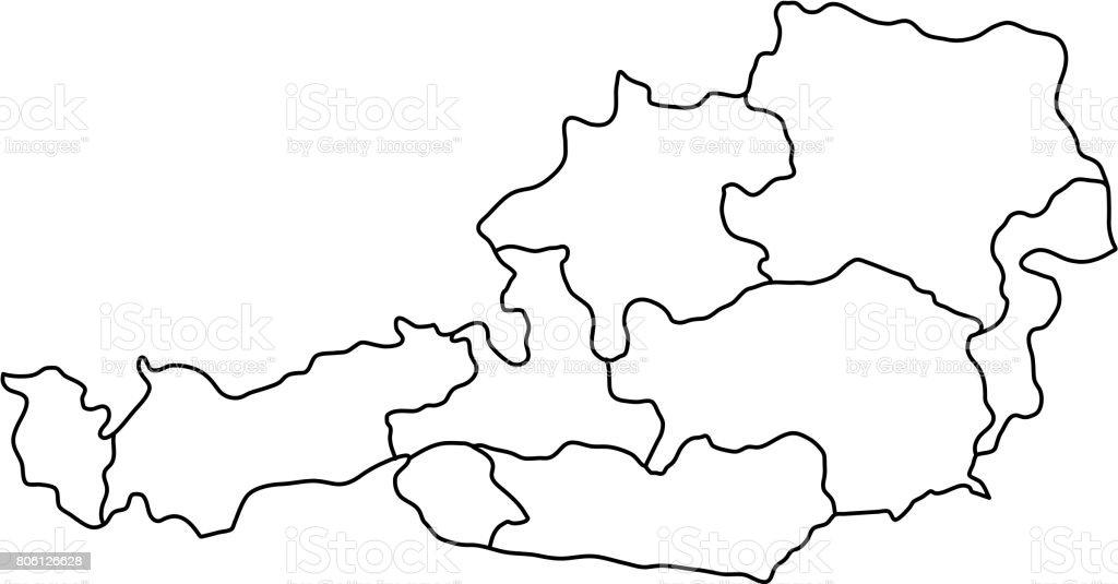 Austria map of black contour curves of vector illustration vector art illustration
