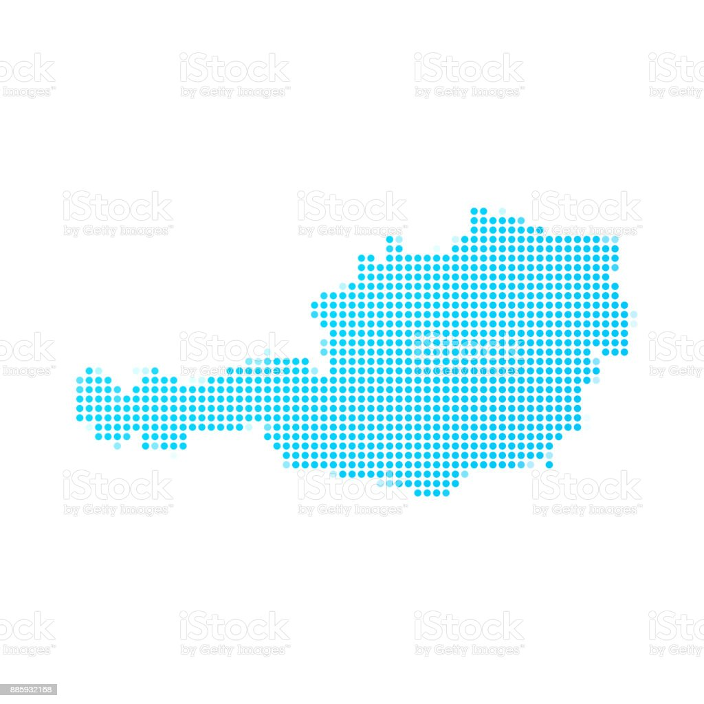 Austria map of blue dots on white background vector art illustration