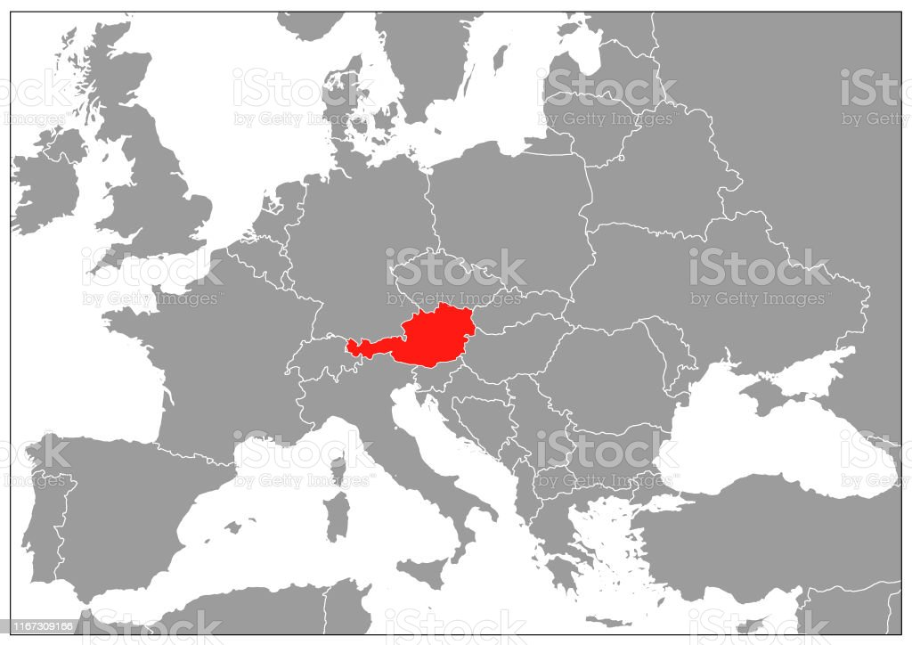 Image of: Austria Map On Gray Base Stock Illustration Download Image Now Istock