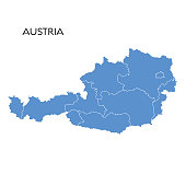 Vector illustration of the map of Austria