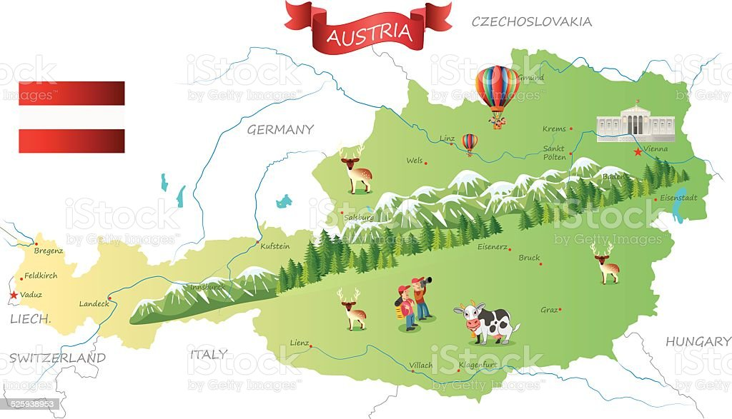 Austria map vector art illustration