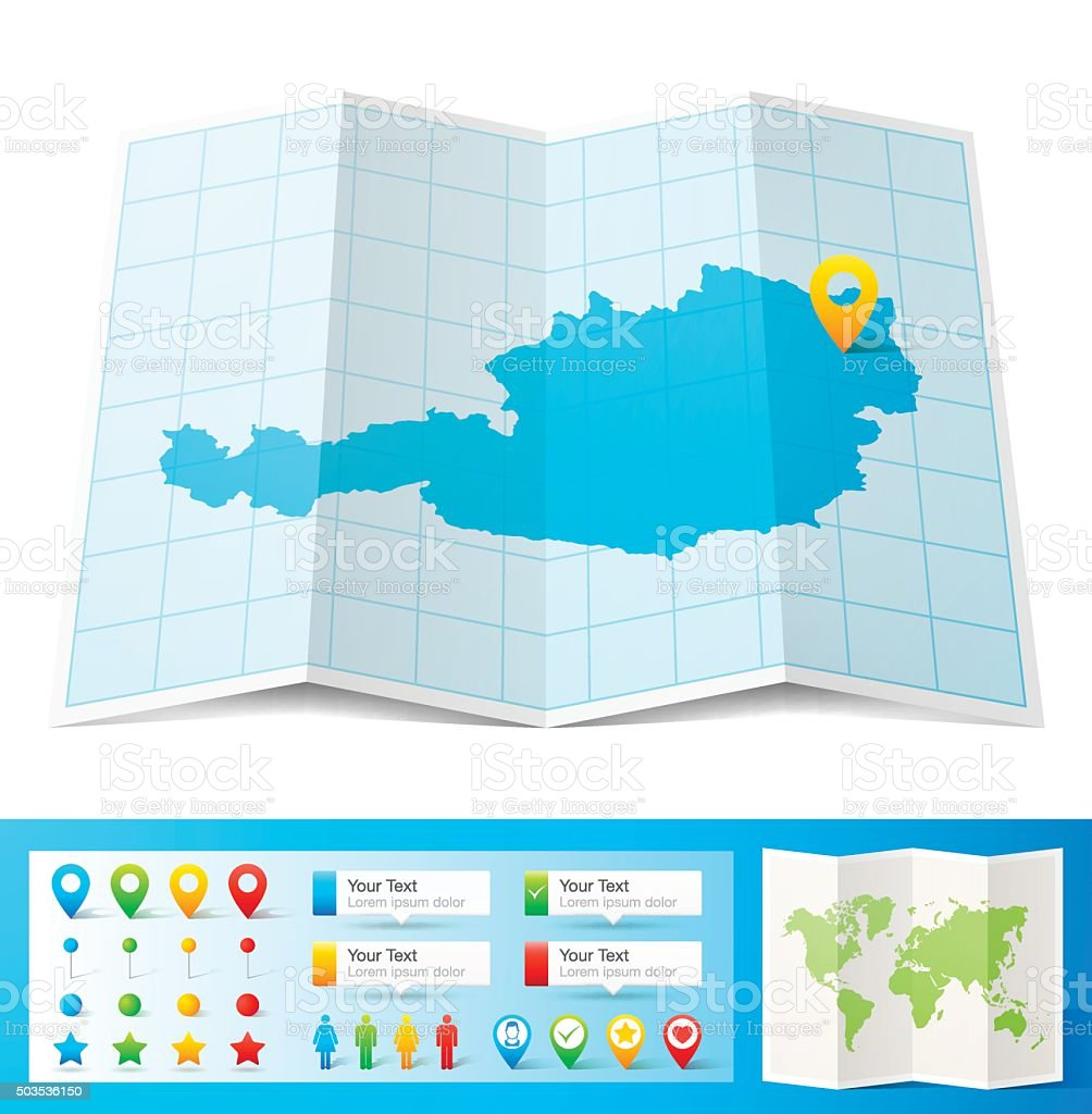 Austria Map with location pins isolated on white Background vector art illustration