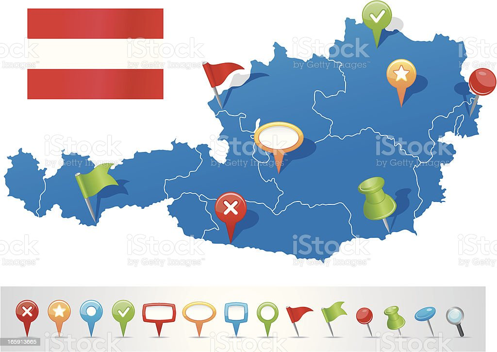 Austria map with navigation icons royalty-free stock vector art