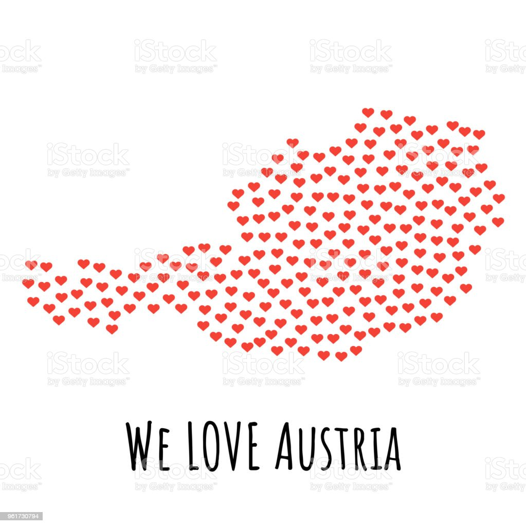 Austria Map With Red Hearts Symbol Of Love Abstract Background Stock