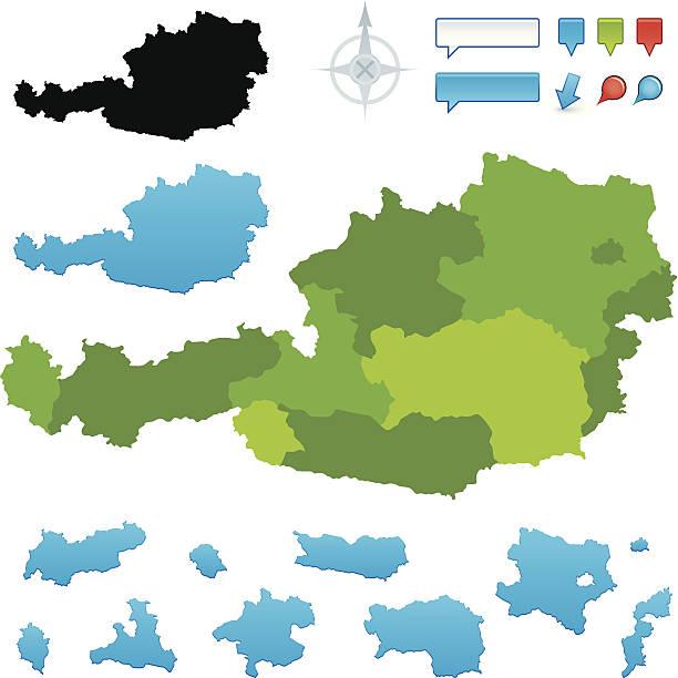 bildbanksillustrationer, clip art samt tecknat material och ikoner med austria map with states - salzburg