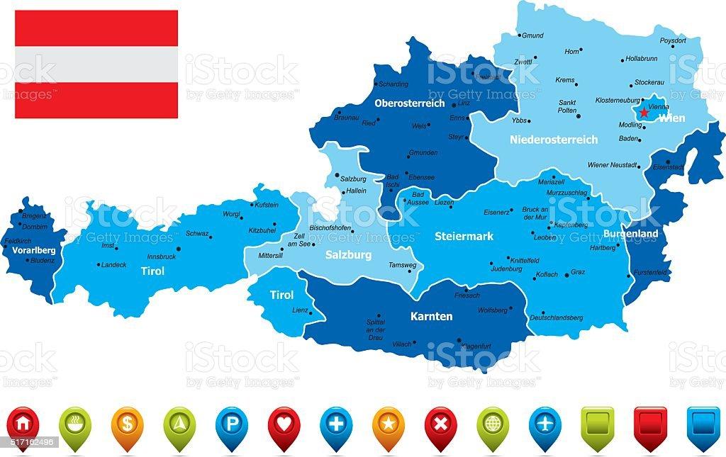 Austria Map-Vector Illustration vector art illustration