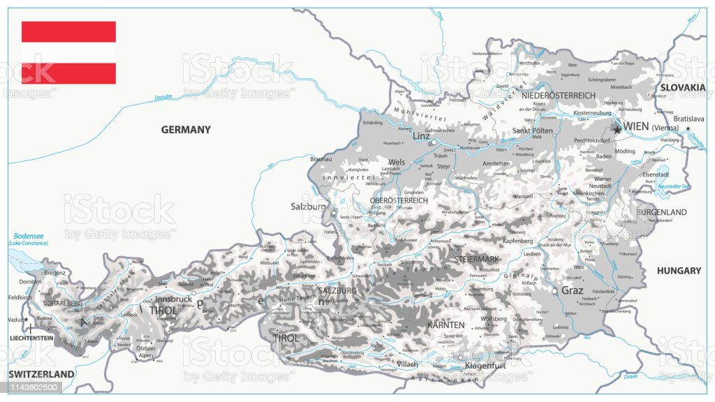 Picture of: Austria Physical Map White And Grey Stock Illustration Download Image Now Istock