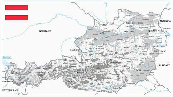 Österrike Fysisk Karta Vit Och Grå-vektorgrafik och fler bilder på Berg