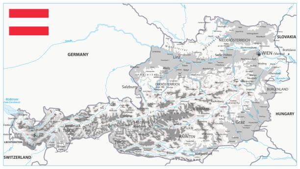 bildbanksillustrationer, clip art samt tecknat material och ikoner med österrike fysisk karta vit och grå - salzburg