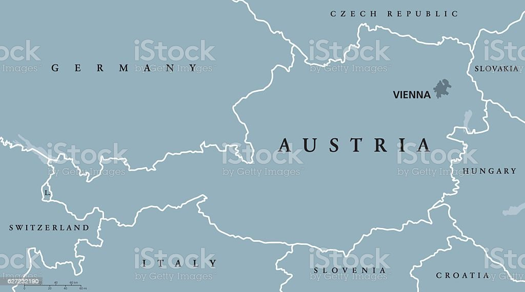 Austria political map gray colored vector art illustration
