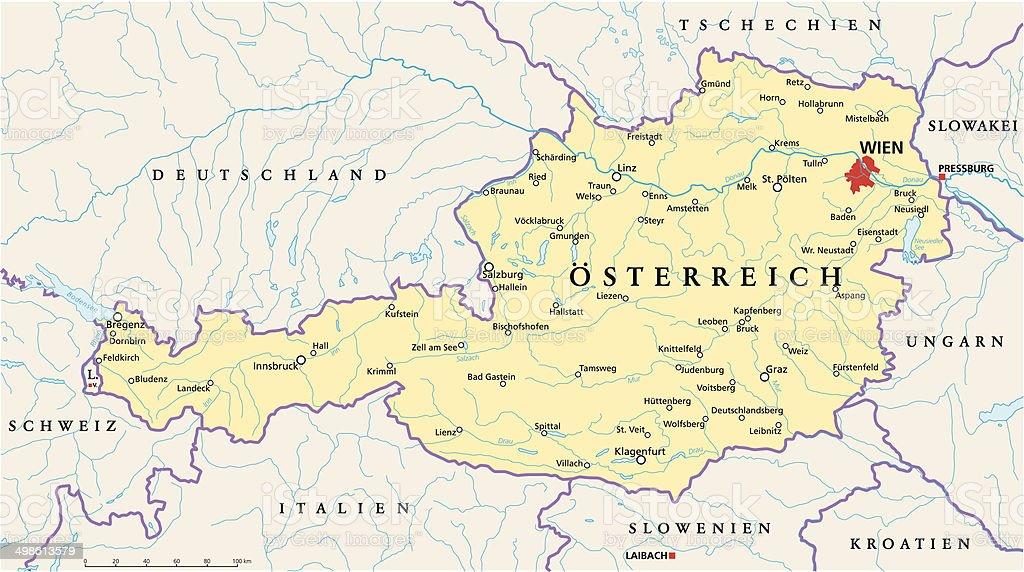 Osterreich Politische Karte Stock Vektor Art Und Mehr Bilder Von