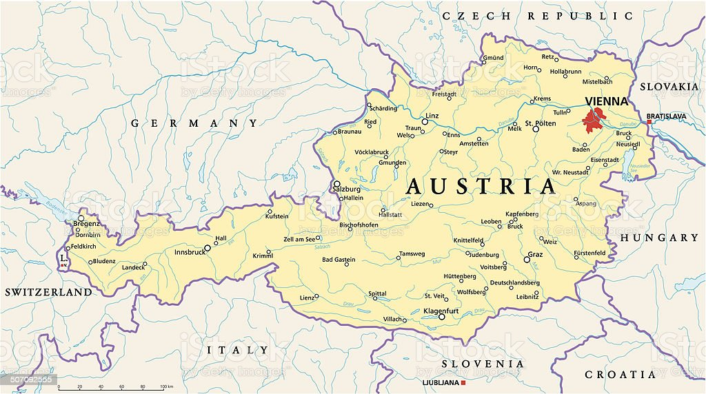 Austria Political Map vector art illustration