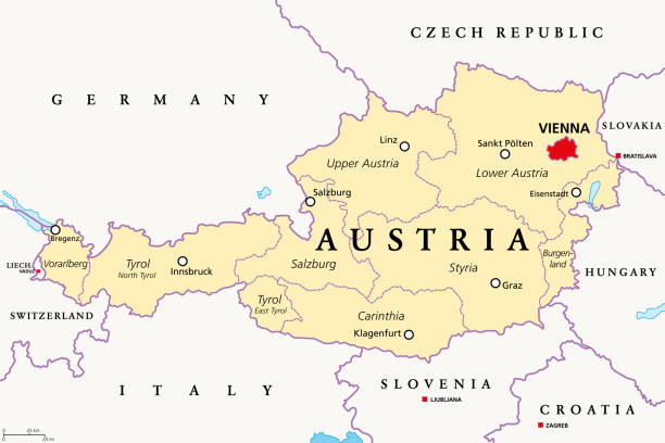 Austria, political map with capital Vienna and nine federated states vector art illustration