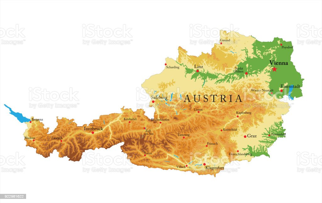 Austria relief map vector art illustration
