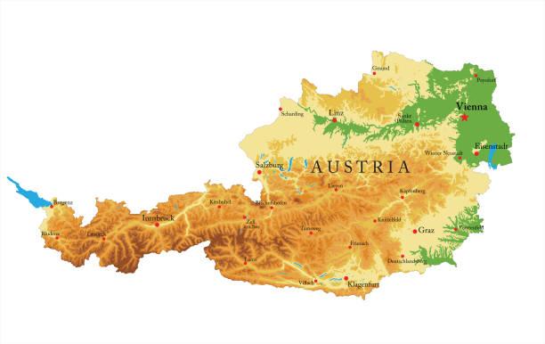 bildbanksillustrationer, clip art samt tecknat material och ikoner med österrike lättnad karta - salzburg