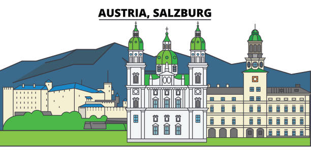 bildbanksillustrationer, clip art samt tecknat material och ikoner med österrike, salzburg. stadens skyline, arkitektur, byggnader, gator, siluett, landskap, panorama, sevärdheter. redigerbara stroke. platt design line vektor illustration koncept. isolerade ikoner - salzburg