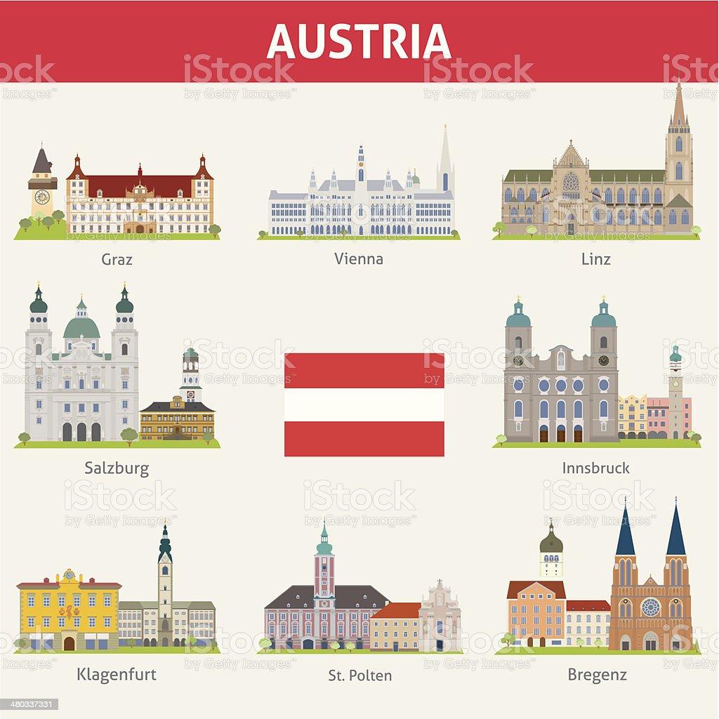 Austria. Symbols of cities vector art illustration