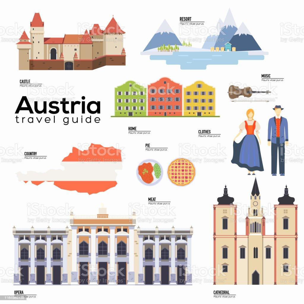 Austria travel guide template. Set of Austrian landmarks, cuisine,...