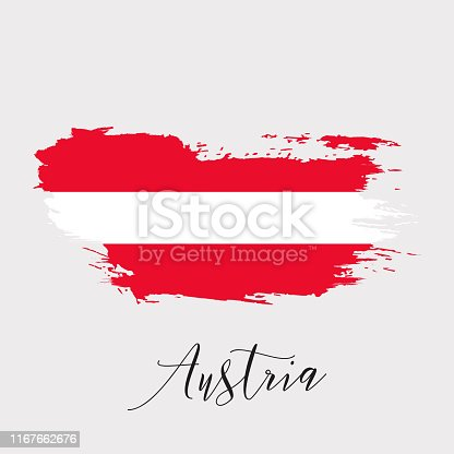 944453740 istock photo Austria vector watercolor national country flag icon. 1167662676