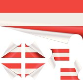 Set of austrian flags behind curled paper. All banners are separate objects. Created with Adobe Illustrator CS.