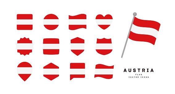 Austrian flag icon set vector illustration