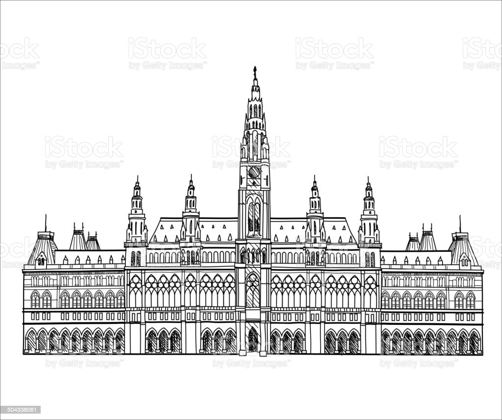 Austrian landmark. Town hall building in Vienna, Austria royalty-free stock vector art
