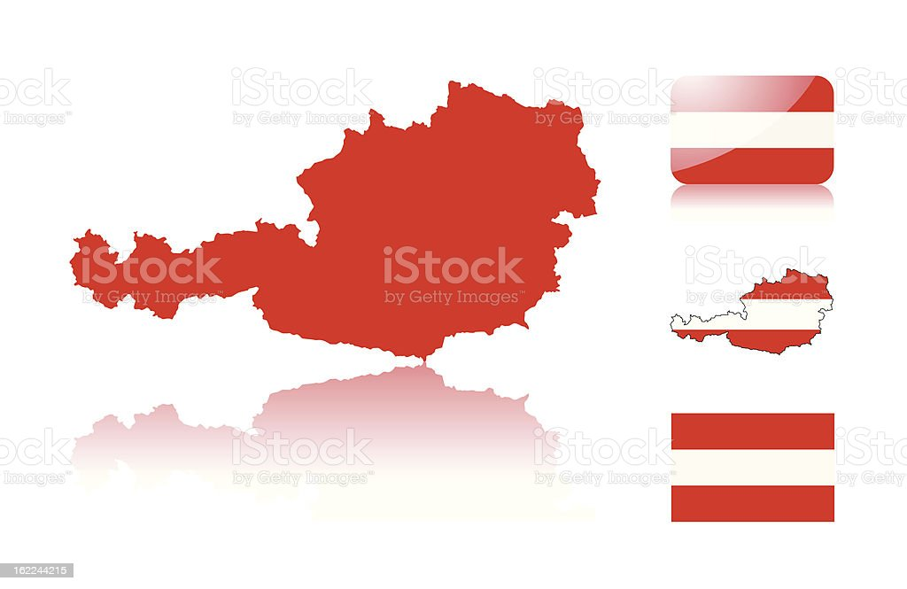 Austrian map and flags vector art illustration