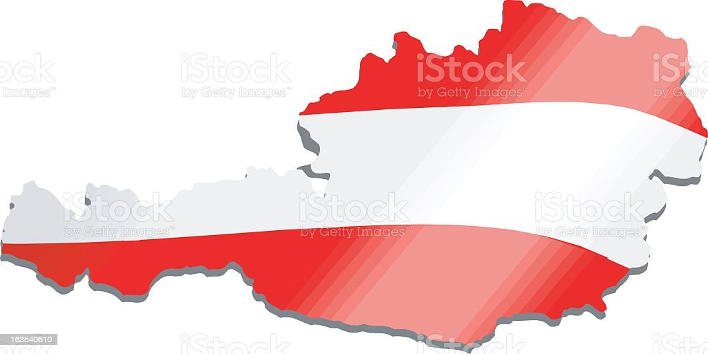 Austrian map filled with Austrian flag vector art illustration