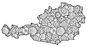 Austrian map with flowers