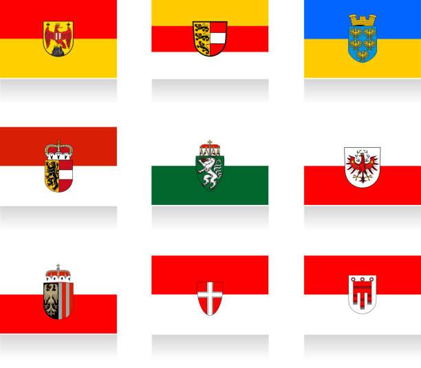 bildbanksillustrationer, clip art samt tecknat material och ikoner med austrian states flag collection - salzburg