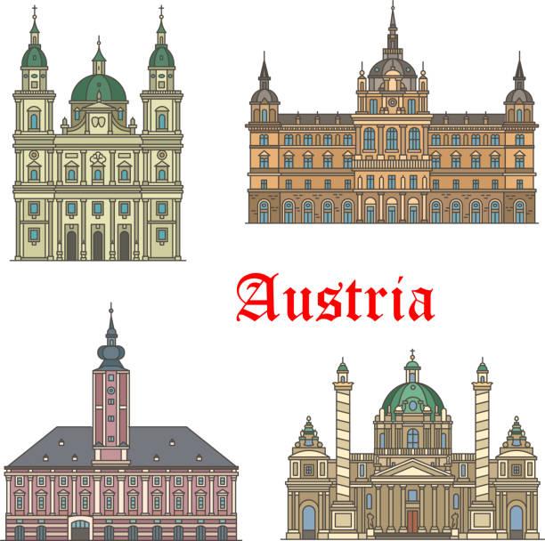 bildbanksillustrationer, clip art samt tecknat material och ikoner med reser österrikare sevärdheter av arkitekturen ikonuppsättning - salzburg