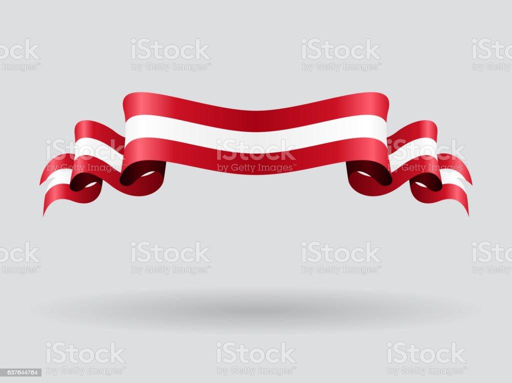 Austrian wavy flag. Vector illustration. vector art illustration
