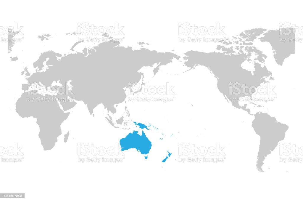 Map Of World Silhouette.Austtralia And Oceania Continent Blue Marked In Grey Silhouette Of
