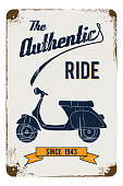 Authentic, retro rusty grunge effected tin sign vector illustration of a vintage motorcycle