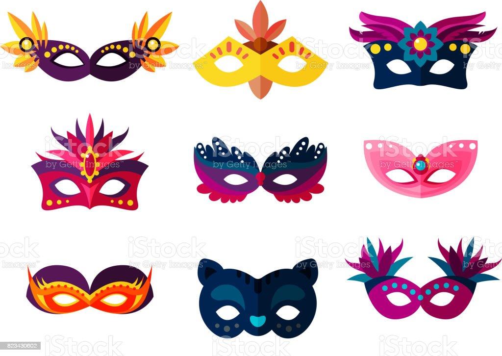 Máscaras carnaval pintado veneciano hecho a mano auténtica ilustración de vector de mascarada de decoración del partido - ilustración de arte vectorial