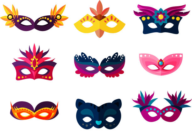 authentic handmade venetian painted carnival face masks party decoration masquerade vector illustration - mask stock illustrations