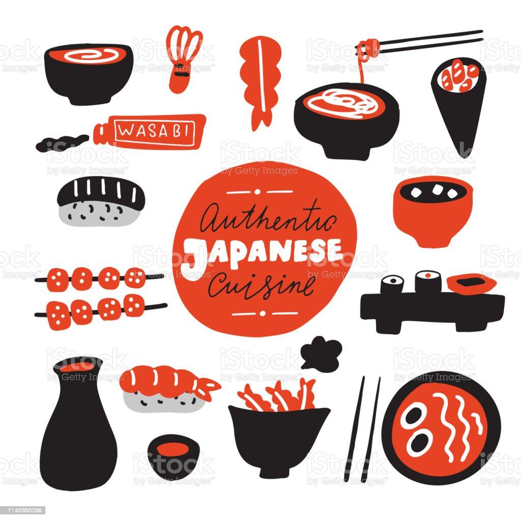 Authentieke Japanse keuken. Hand getrokken voedsel. Doodles. Gemaakt in vector. - Royalty-free Achtergrond - Thema vectorkunst