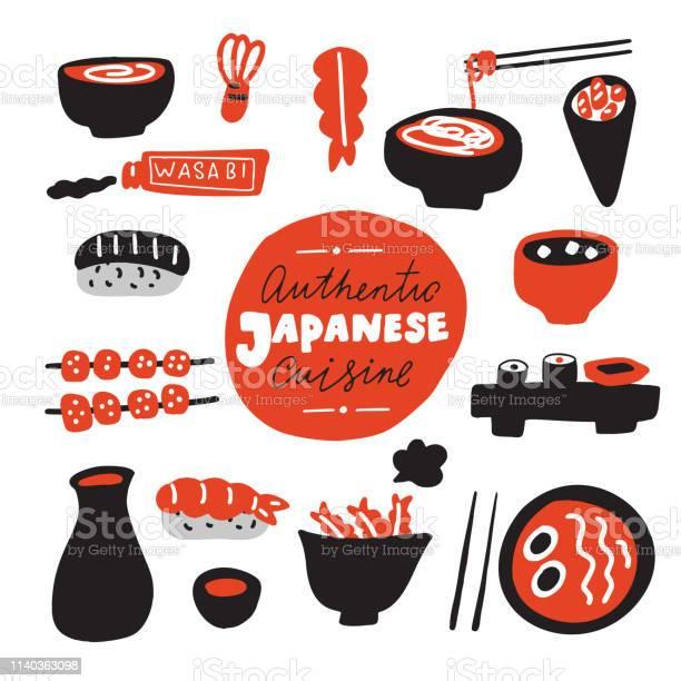 Authentieke Japanse Keuken Hand Getrokken Voedsel Doodles Gemaakt In Vector Stockvectorkunst en meer beelden van Achtergrond - Thema