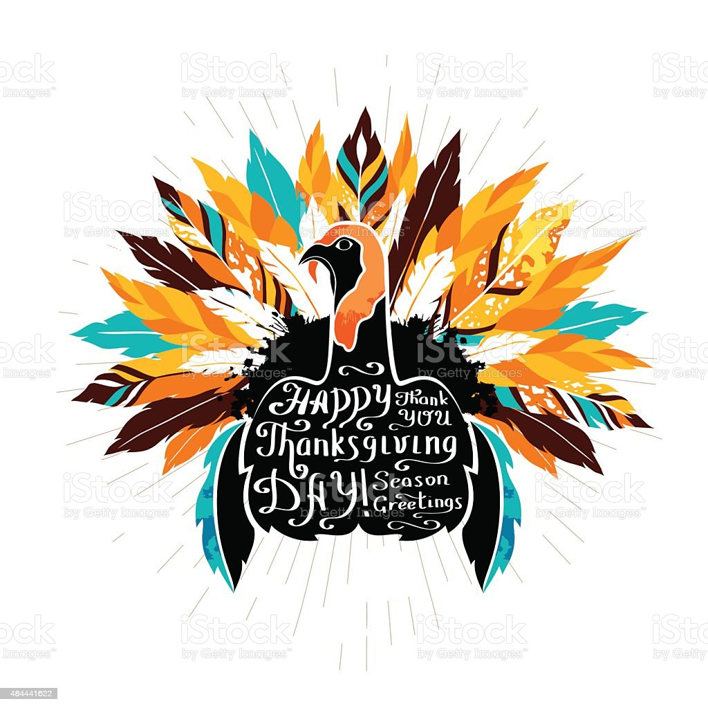 Authentic  poster with silhouette of turkey and calligraphic ele vector art illustration