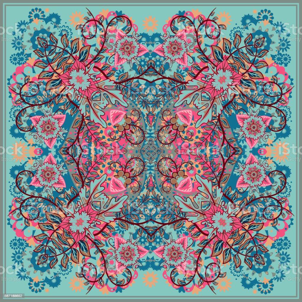 authentic silk neck scarf or kerchief square pattern design in vector art illustration
